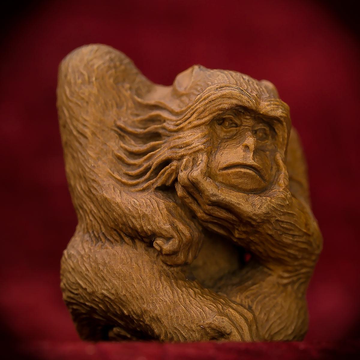 Hidetoshi Carved Pondering Monkey Netsuke