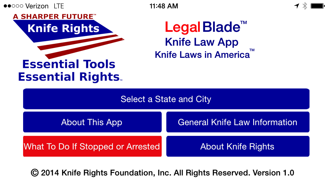 Knife Rights LegalBlade Homescreen