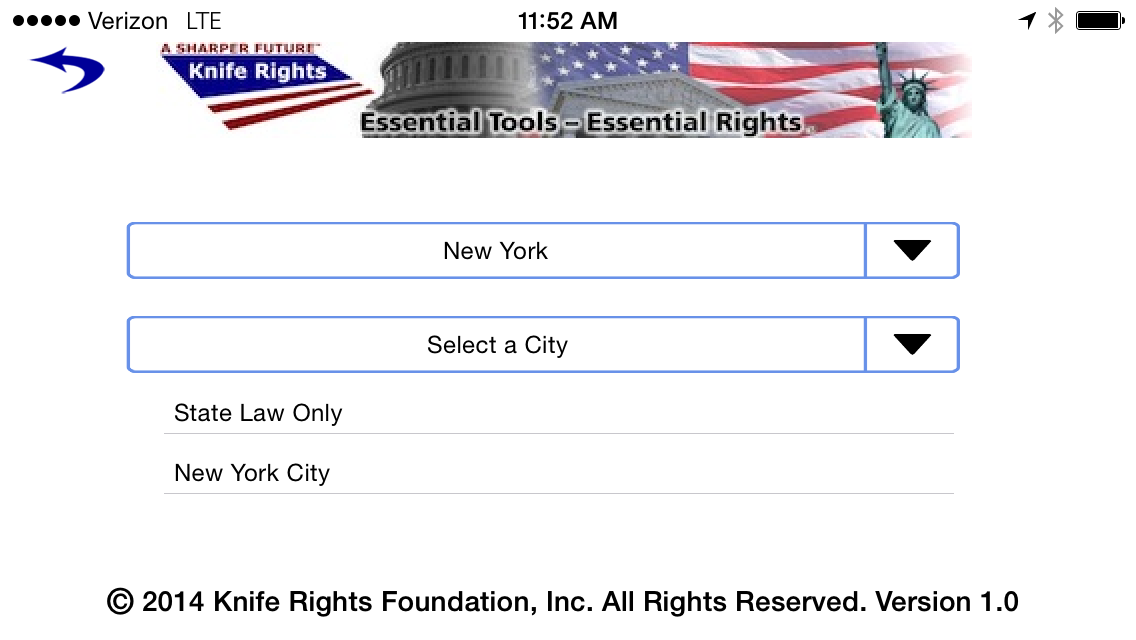 Knife Rights LegalBlade New York Drop Down